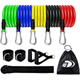 Exercise Resistance Bands Set (11pcs) Stackable Up to 100Lbs, Exercise Bands with Door Anchor, Ankle Straps & Carrying…