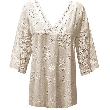 Amazon.com: IanWio - Camiseta de encaje para mujer, media ...