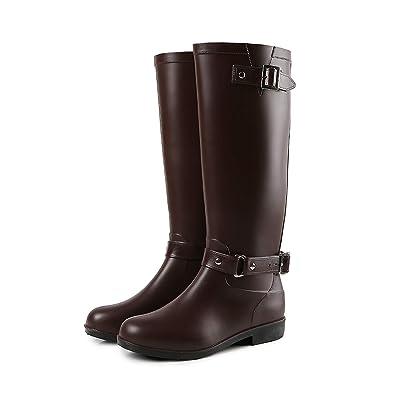 San Francisco 50783 268af H-Mastery Bottes de Pluie Femme en Caoutchouc Talon Imperméable Zip Hautes  Wellington Boots