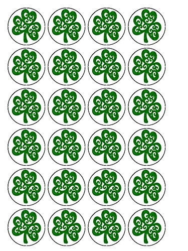 30x St Patrick's Day Shamrock 1.5″ (3.8cm) PRE-Cut Premium Rice Paper Edible Cake Toppers