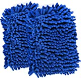 Car Wash Mitts - Pack of 2 - Scratch Free - Extra Large - Chenille Microfiber Wash Sponge -11 into 8.5 Inches- By Utopia Kitchen
