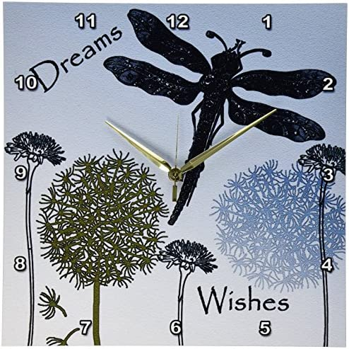 3dRose DPP_79324_2 Dreams and Wishes Dandelions and Dragonflies-Wall Clock, 13 by 13-Inch