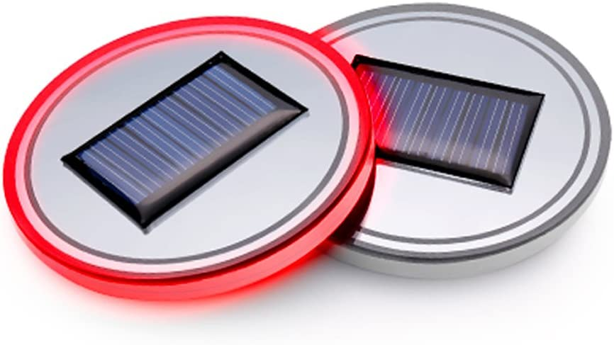 Solar Energy USB Car Cup Mat Pad LED Light accessories Cup Holder Coaster Lighting Decoration Atmosphere Interior Automotive Decorative Dome Lights for All Cars 2pcs