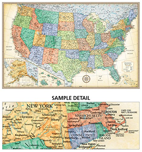 US All 50 States Rand McNally Raised Relief Map NCR Style