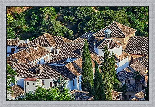 Rooftops of the Albayzin district, Granada, Spain by Julie Eggers / Danita Delimont Framed Art Print Wall Picture, Flat Silver Frame, 46 x 32 inches by Great Art Now