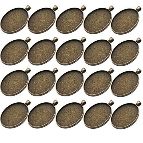 IGOGO 20 PCS Oval Pendant Trays Pendant Blanks Cameo Bezel Cabochon Settings - 30x40 mm Antique Bronze Color