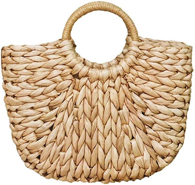 Summer Straw Bag for Women Rattan Hand-woven Top-handle Handbag Beach Sea  Straw Rattan Tote Clutch Bags: Amazon.co.uk: Clothing