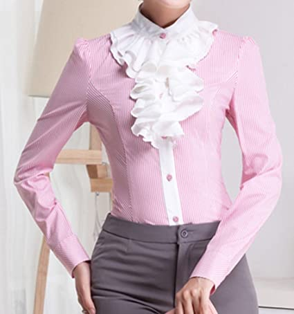 Yasong Women Ladies Long Sleeve Formal Top Work Blouse Frill Ruffle Blouse  Business Blouse Pink UK 10  Amazon.co.uk  Clothing 24085b955