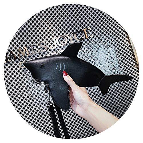 Cute Shark Pu Leather Shoulder Bag Tote Crossbody Mini Messenger Bag Handbag Clutch Bag Purse,Black