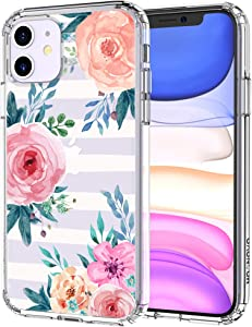 MOSNOVO Girls Blossom Stripes Floral Flower Pattern Designed for iPhone 11 Case - Clear