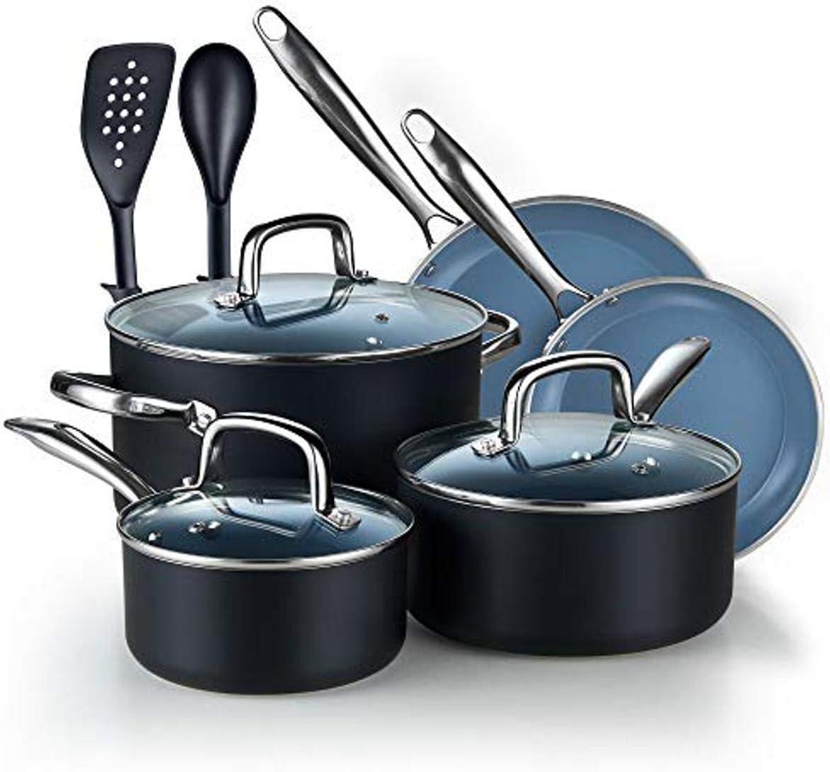 Cook N Home Ceramic Nonstick Cookware Saute fry pan Grey 3.5-Qt