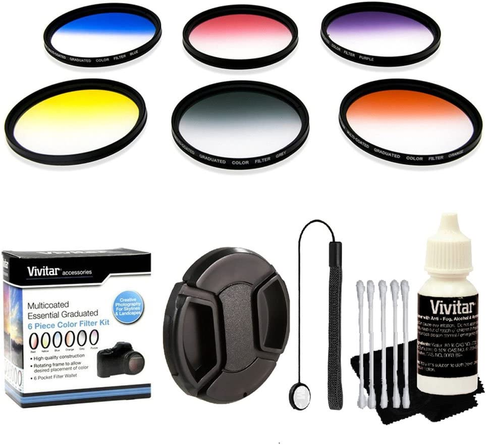 Vivitar 72mm Multi Coated Essential Graduated 6 Piece Color Filter Kit Lens Cap 3 Piece Cleaning Kit for All 72mm Lenses Lens Cap Keeper