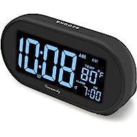 DreamSky Auto Time Set Alarm Clock with Snooze & Full Range Dimmer 0-100% Adjustable Brightness, USB Charging Port, Auto…