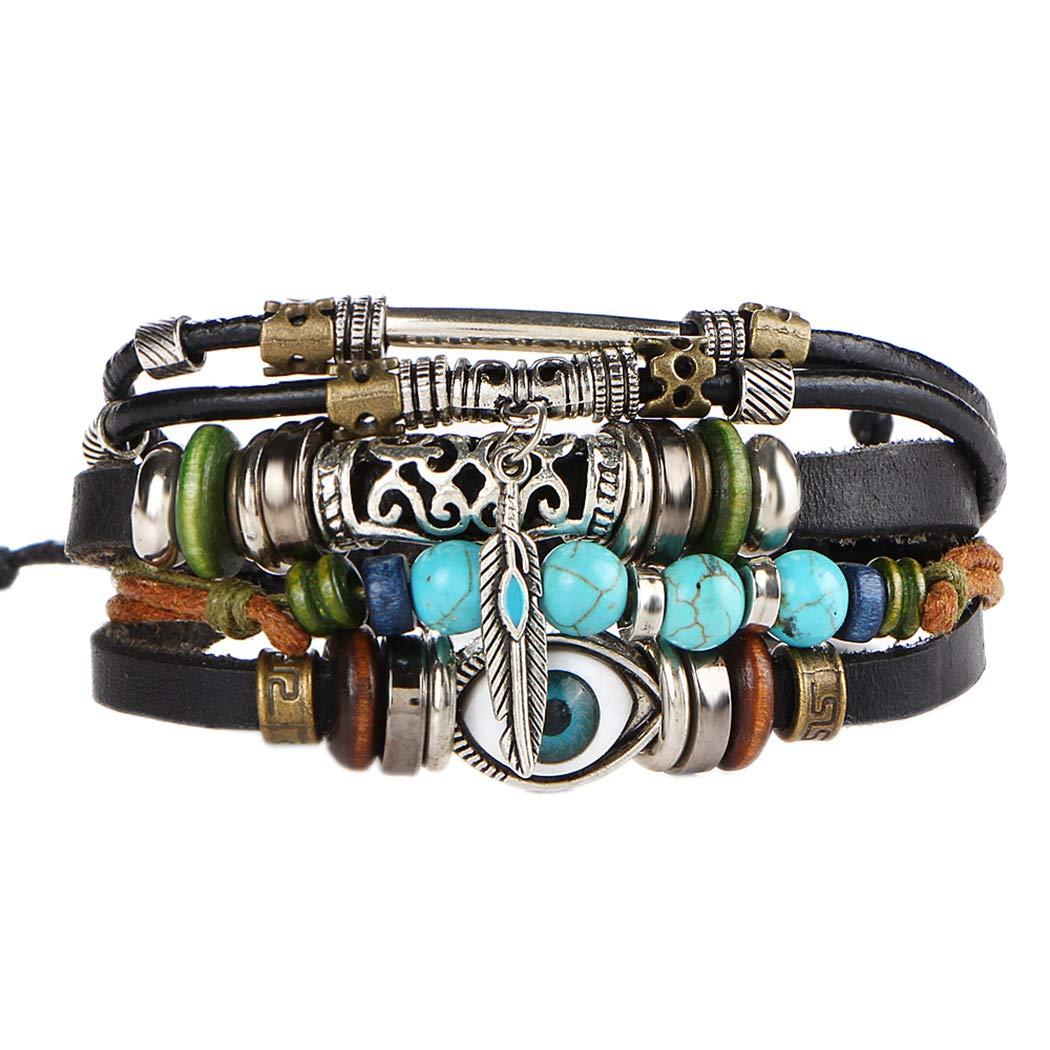Susenstone Multilayer Leather Bracelet , Handmade Beaded Bracelet ,Blue Eye Bracelet Vintage Hollow Carved Bracelet (Multicolor) F-1
