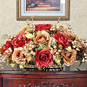 SituMi Artificial Fake Flowers Silk Flower Rose Home Decoration,Red Gold 25cm 1