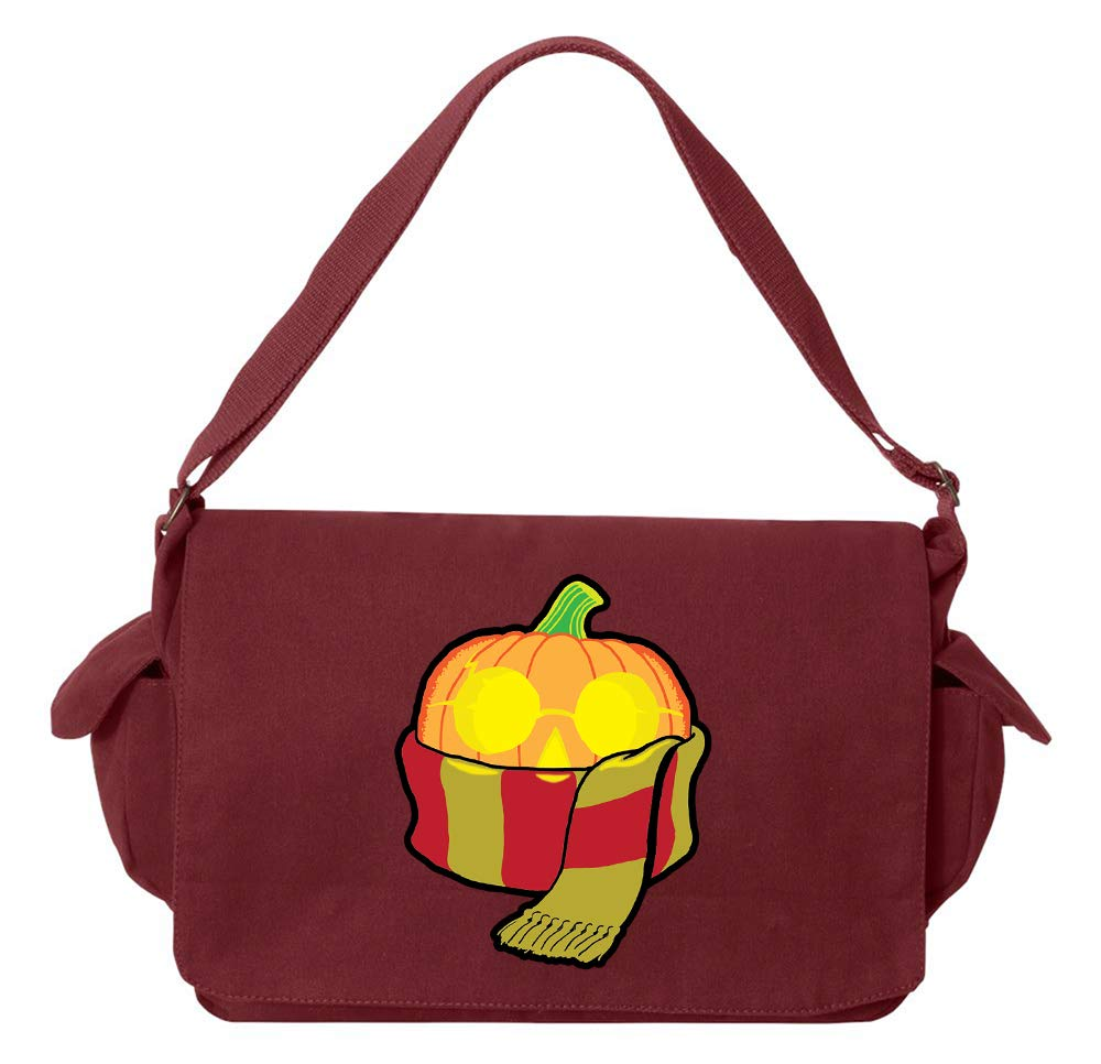 Tenacitee Wizard Pumpkin Putty Raw Edge Canvas Messenger Bag