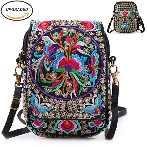 Embroidery Flowers Canvas Crossbody Bag, Women Messenger Bag, Cellphone Pouch Purse by Goodhan (Image #9)