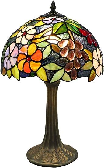 Tokira Tall Tiffany Table Lamps, 12 Inch Crystal Grape