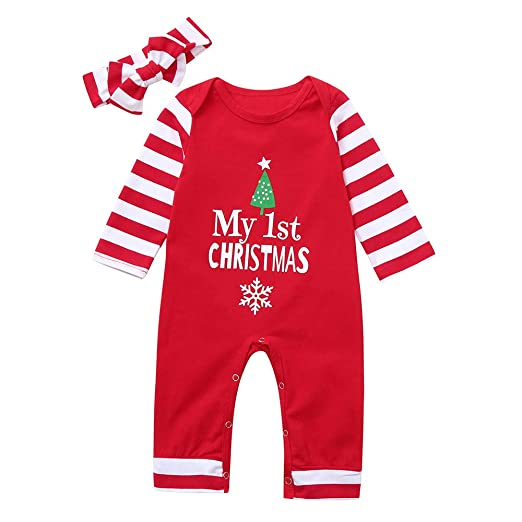6aeed551721 Amazon.com  Yanvan❤️Infant Baby Set Outfit Christmas Letter Print Striped Jumpsuit  Romper+Headband  Clothing