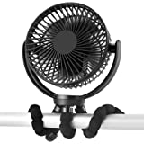 5000mAh Rechargeable Battery Powered Clip Fan with Flexible Tripod, Super Quiet, 3 Speed, 360° Rotatable, Portable Handheld U