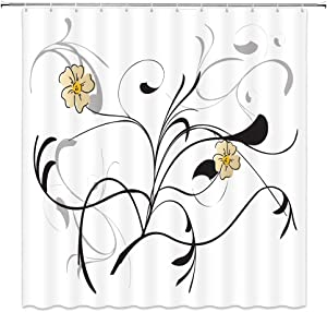 BCNEW Flower Shower Curtain Decor Simple Yellow Beige Flowers Black Grey Gray Grass Leaf Leaves White Background Bathroom Curtain Polyester Fabric Machine Washable with Hooks 70x70 Inches