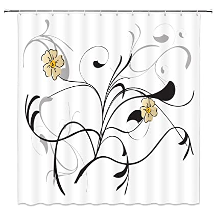 Flower Shower Curtain Decor Yellow Beige Flowers Black Gray Grey Grass Leaf Leaves White Background