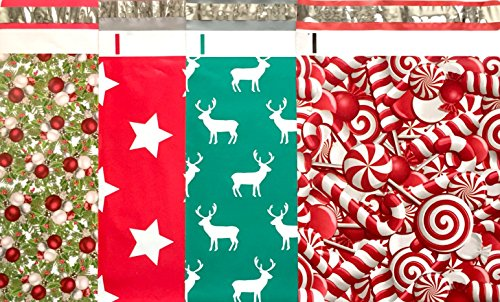 Christmas Holiday Designer Poly Mailers 10x13 : Candy Cane, Reindeer Deer Elk, Christmas Stars And Christmas Tree; Printed Self Sealing Shipping Poly Envelopes Bag ( 40 Pcs Total )