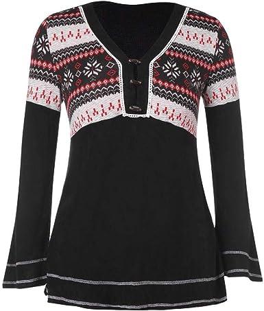 Camisa De Talla Grande para Mujer Botones De V Vintage En Cuello Llamarada Manga Larga Camiseta Blusa Negra De Punto Copo De Nieve De Navidad Camiseta: Amazon.es: Ropa y accesorios