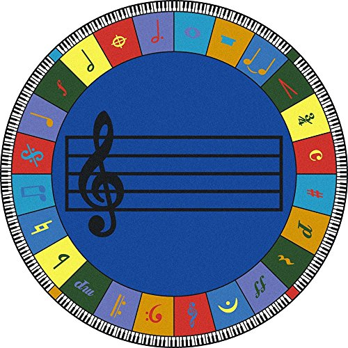 Joy Carpets Kid Essentials Music & Special Needs Round Elementary Note Worthy Rug, Multicolored, 13'2'' by Joy Carpets
