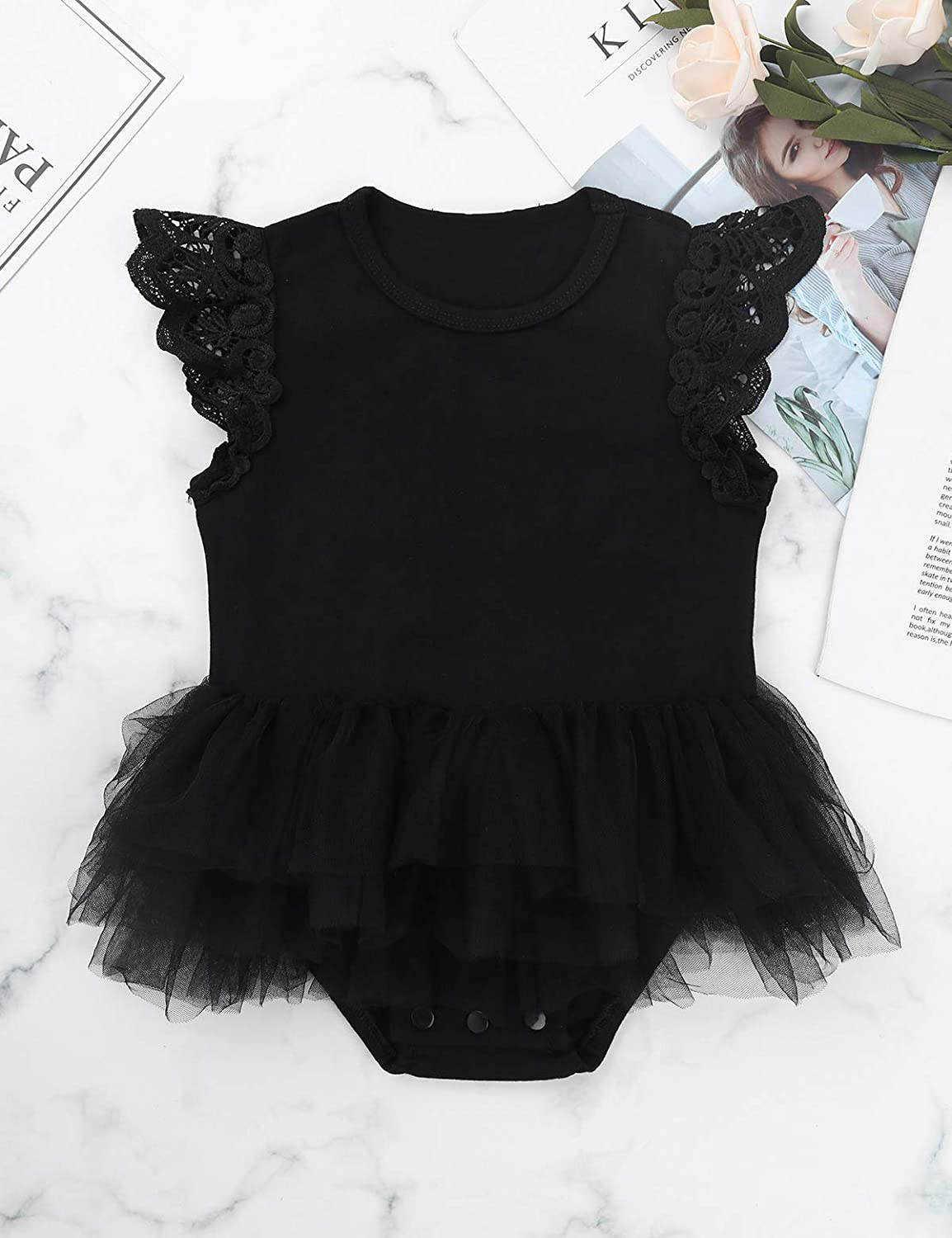 iEFiEL Infant Baby Girl Basic Ruffle Short Sleeve Cotton Romper Bodysuit Tops Shirts Summer Clothes
