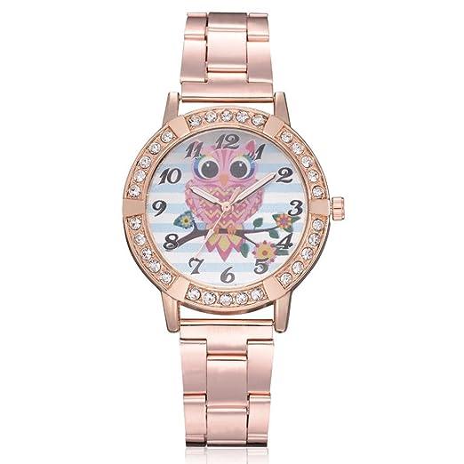Relojes de Mujer Rosa 2018 Elegantes de Pulsera de Diamantes de Imitación por ESAILQ: Amazon.es: Relojes