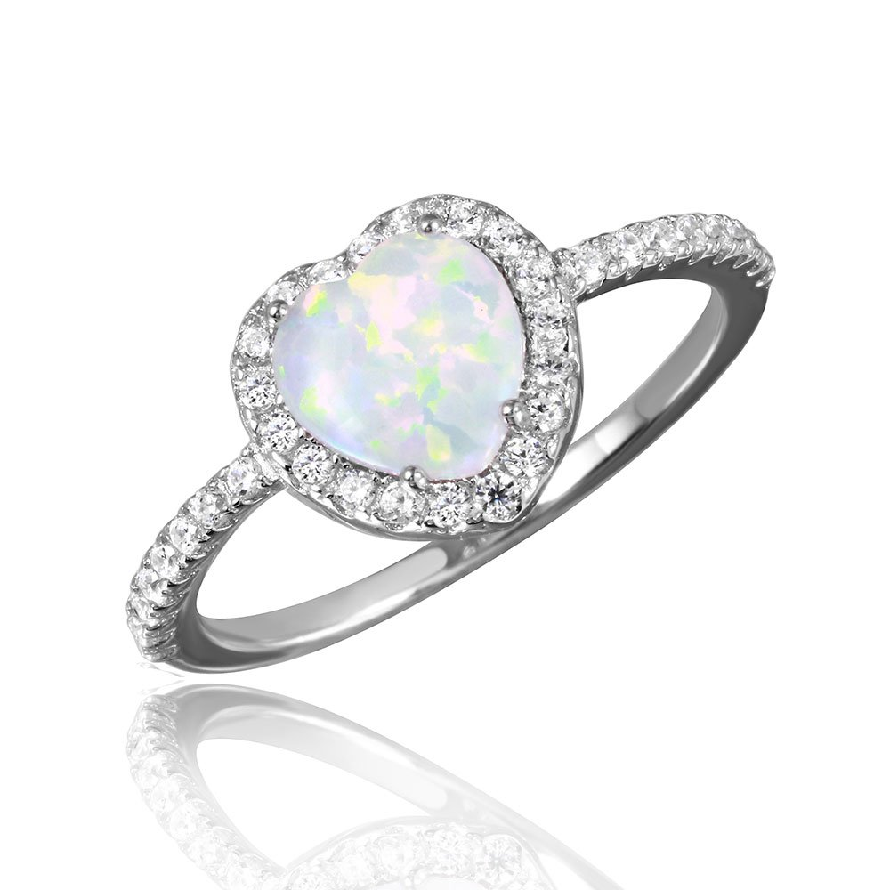 White Simulated Opal Clear Cubic Zirconia Halo Heart Ring Rhodium Plated Sterling Silver