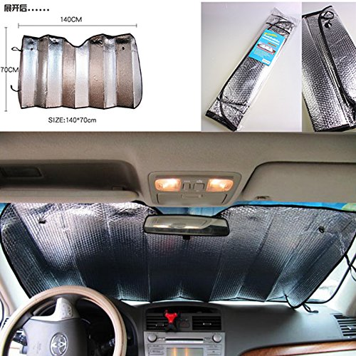 Monbedos Car Sun Shade Double-sided Aluminum Foil Car Sun Block Car Front Window Shade Block UV Ray Keep Your Vehicle Cooler Flexible