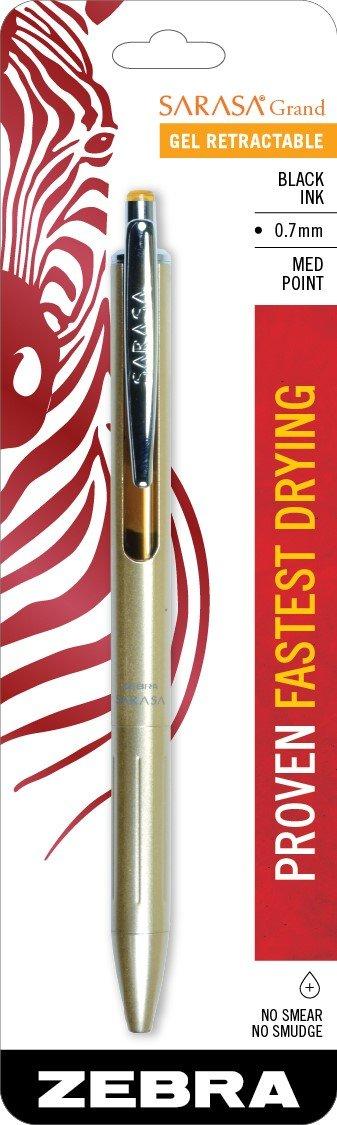 Zebra Sarasa Grand, Retractable Gel Ink Pen, Gold Barrel,..