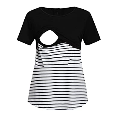 f8ec755fd0707 Maternity Dresses for Photography,Women Maternity Short Sleeve Stripe  Splicing Mom Nursing Baby Tops T