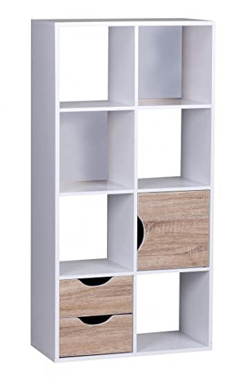 Finebuy Bücherregal 60 X 120 X 29 Cm Weiß Sonoma Eiche Mit