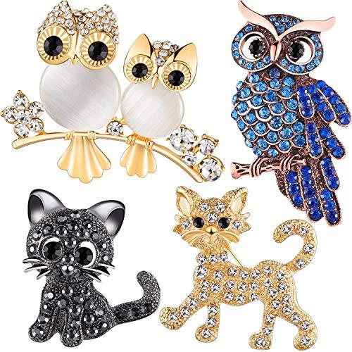 4 Stücke Tier Strass Brosche Set Strass Eule Design Brosche Kristall Katze Broschen Pins für Frauen Mädchen Geburtstagsgeschenk Hochzeit Party Supply