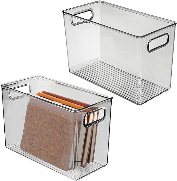 Kunststoffbox f/ür die Schreibtischablage zur Aufbewahrung von K/üchen- durchsichtig mDesign Aufbewahrungsbox mit integrierten Griffen Badezimmer- oder B/üroutensilien