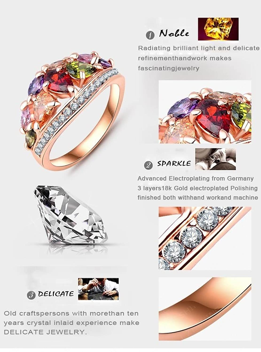 AnaZoz Fashion Jewelry Multi Color Finger Rings Genuine SWA Elements Austrian Crystal 18K Rose Gold Plate Rings for Women w4TvuOZT3z