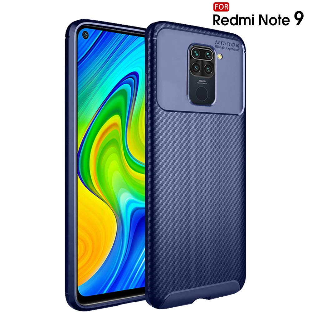 TheGiftKart Rugged Carbon Fibre Redmi Note 9 Armor Back Cover