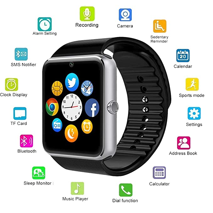 Amazon.com: Blue Tooth Smartwatch Hangang Touchscreen Smart ...