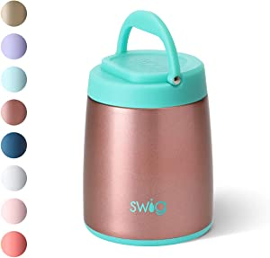 Swig Life 14oz Hot Pot Triple Insulated Food Container, Dishwasher Safe, Double Wall, Vacuum Sealed Thermos Food Jar for Hot Food and Cold Food in Shimmer Rose Gold (Multiple Patterns Available)