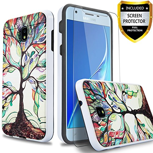 Circlemalls Hybrid Cover Shockproof Phone Cases For Samsung Galaxy J7 Refine / J7 2018/ J7 Aero/ J7 Eon/J7 Star/J7 Crown/J7 Aura/J7 Top/J7 V 2nd Gen, With[HD Screen Protector] And Stylus-Lucky Tree