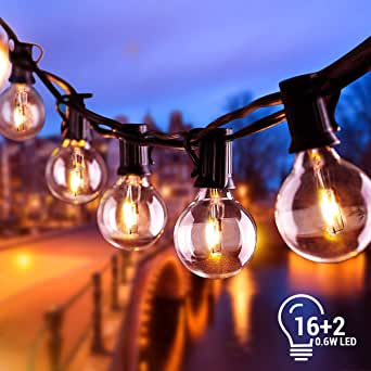 BACKTURE Cadena de Luces, Impermeable Guirnaldas luminosas de Exterior con 16 LED Bombillas y 2 Bombilla de Repuesto, Cadena de Bombillas Perfecto para Jardín Patio Trasero Fiesta Navidad, 6.8M: Amazon.es: Iluminación
