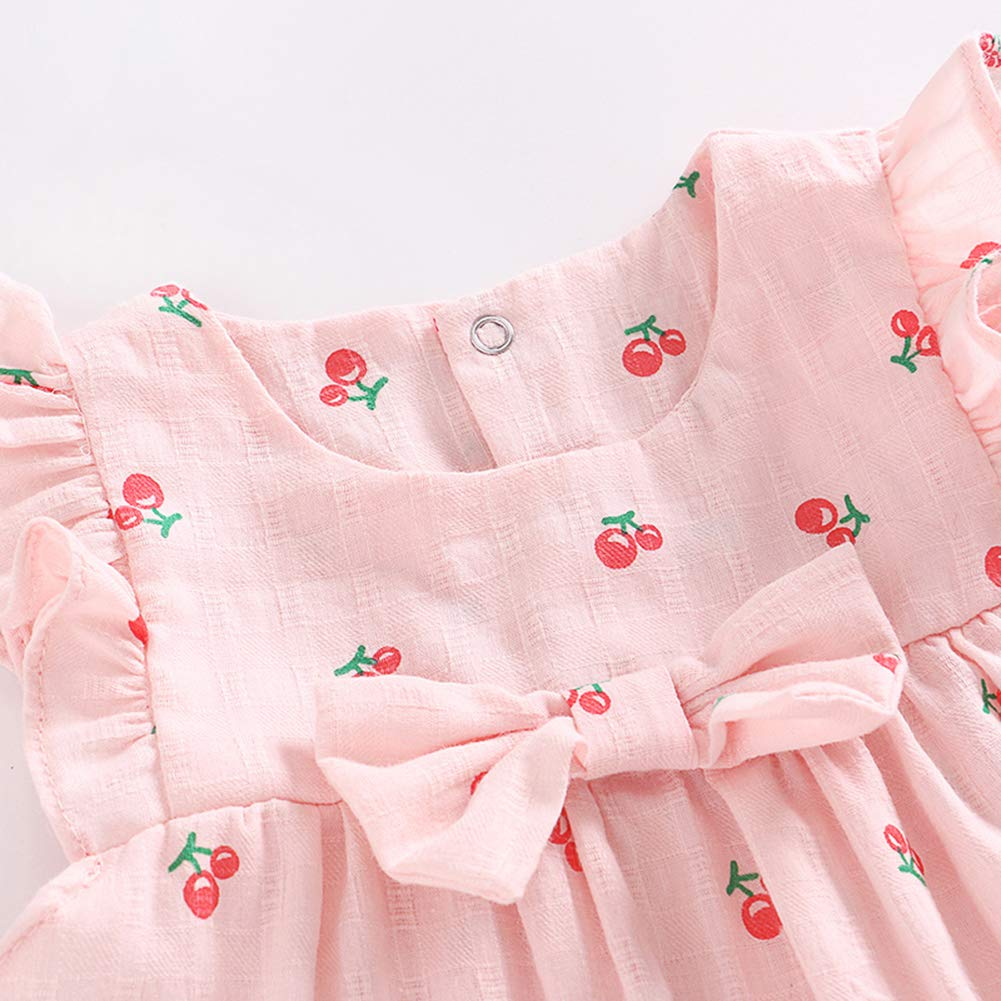 Feidoog Baby Girls Dress+Shorts Outfit with Bowknot Headband,Pink,12-18M by Feidoog (Image #2)