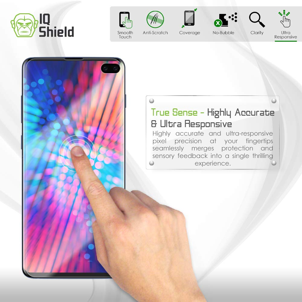 Samsung Galaxy S10 Plus Screen Protector (S10+ 6.4'')[Case Friendly](2-Packs)(Compatible w/Fingerprint ID), IQ Shield LiQuidSkin Full Coverage Screen Protector for Samsung Galaxy S10 Plus HD Clear Film by IQShield (Image #8)