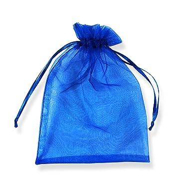 PLECUPE 100 Pcs Bolsa Organza Organza Bags, 16x22cm Transparente Organza Joya Bolsas Fiesta de Boda Bolsas de Regalo - Azul#4