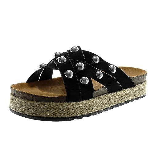 671c5a0a8cf Angkorly - Chaussure Mode Mule Sandale Slip-on Plateforme Femme Perle  clouté Lanières croisées Talon