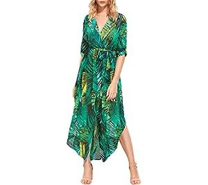 6000cfa9ba Sianze Green Palm Leaf Maxi Shirt Dress Tie Waist Women Long Sleeve Beach  Summer Dresses New