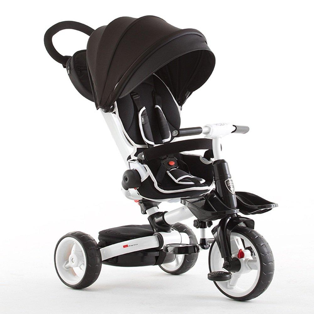 子ども用自転車 折りたたみ式の子供たちtrike tricycle- 4 stageブラック、グレー、グリーン、オレンジ、パープル 少年少女の自転車 B07FRT8P6G  Black